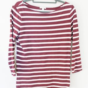 GAP Women's Striped Zipper Knit Top